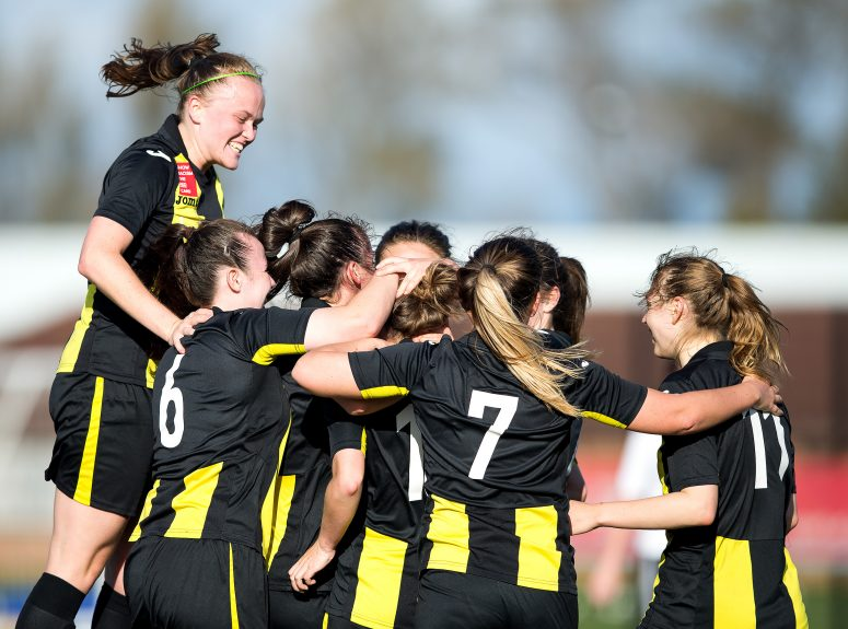 Edinburgh University Hutchison Vale midfielder Lucy Stanton joins the celebration of Edinburgh University Hutchison Vale midfielder Nichola Sturrock's goal (2-1) for Edinburgh University Hutchison Vale during the SWPL2 league match between Edinburgh University Hutchison Vale and Glasgow Girls at Peffermill Playing Fields, Edinburgh, Scotland on 15 October 2017. Photo by Craig Doyle.