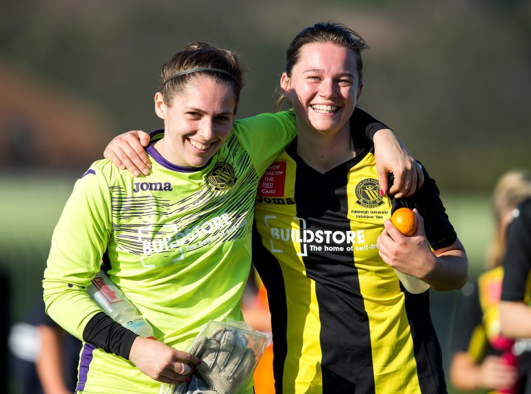 Edinburgh University Hutchison Vale forward Beth Macleod and Edinburgh University Hutchison Vale goalkeeper Charlotte Parker-Smith following the SWPL2 league match between Edinburgh University Hutchison Vale and Glasgow Girls at Peffermill Playing Fields, Edinburgh, Scotland on 15 October 2017. Photo by Craig Doyle.